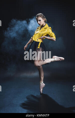 ballet dancer in leather jacket  - Stock Photo