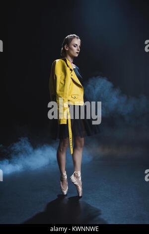 stylish ballerina in leather jacket - Stock Photo