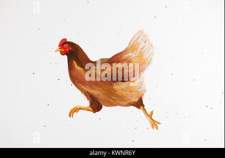 painting of running chicken - Stock Photo