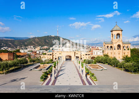 Holy Trinity Cathedral territory, its commonly known as Tsminda Sameba - the main cathedral of the Georgian Orthodox - Stock Photo