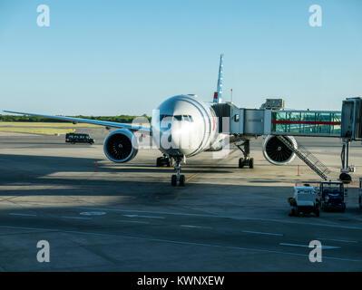 Commercial jet at gate, Ministro Pistarini International Airport; Ezeiza; Buenos Aires; Argentina - Stock Photo