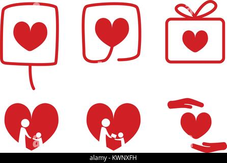 Set of Donation icons with love concept, vector design - Stock Photo