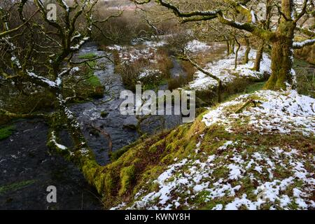 River Loughor near its source in winter   Black Mountain Brecon Beacons National park Fforset Fawr Geopark Carmarthenshire - Stock Photo