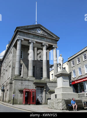 Market House and Sir Humphry Davy Statue, High St ( Market Jew Street ), Penzance, Cornwall, England, UK in Summer - Stock Photo