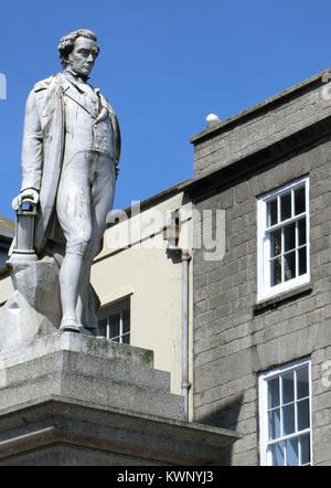 Statue of Sir Humphry Davy, High Street ( Market Jew Street ), Penzance, Cornwall, England, UK - Stock Photo