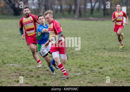 ZAGREB, CROATIA - NOVEMBER 18, 2017: Rugby match between Rugby club Mladost and Rugby club Ljubljana.  Rugby players - Stock Photo