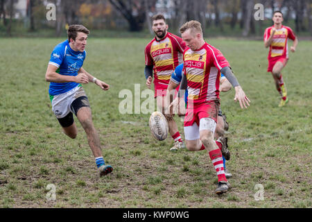 ZAGREB, CROATIA - NOVEMBER 18, 2017: Rugby match between Rugby club Mladost and Rugby club Ljubljana. Rugby player - Stock Photo