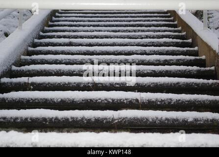 Snow Covered Steps along Aberdeen Beach. December, 2017. North East Scotland, UK. - Stock Photo