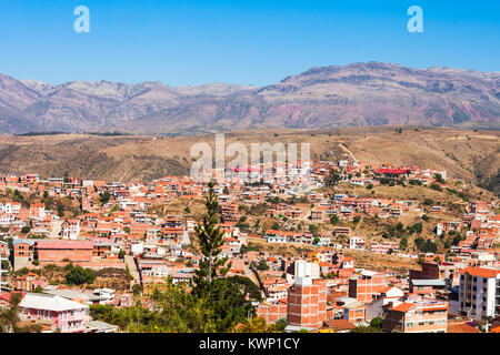 Sucre aerial view from La Recoleta Monastery viewpoint, Bolivia - Stock Photo