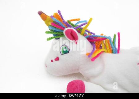 Lisa Frank Markie The Unicorn Bean Bag Plush Toy - Stock Photo