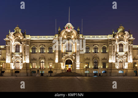 The Government Palace of Peru, also known as House of Pizarro in Lima, Peru - Stock Photo