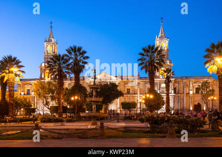 The Basilica Cathedral of Arequipa on sunset, Arequipa in Peru - Stock Photo
