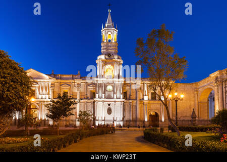 The Basilica Cathedral of Arequipa is located in the Plaza de Armas, city of Arequipa, Peru - Stock Photo