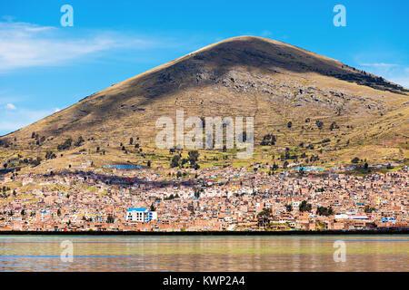 Puno panoramic view from Titicaca lake, Peru - Stock Photo