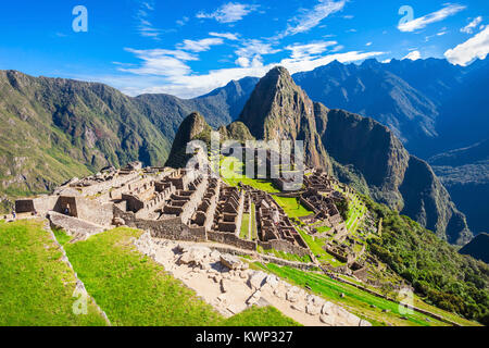 View of the Lost Incan City of Machu Picchu near Cusco, Peru. - Stock Photo