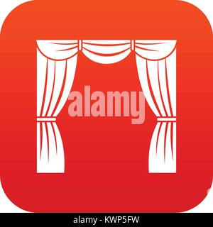 Curtain on stage icon digital red - Stock Photo