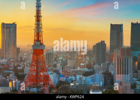 Tokyo Tower in Twilight  TOKYO, JAPAN - NOVEMBER 28, 2015: Tokyo Tower built in 1958, it was the main source of - Stock Photo