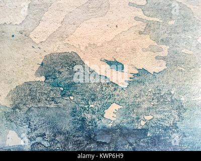 Close-up macro shot of white and dark blue paint on canvas. Fragment of picture - Stock Photo
