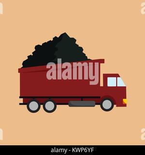 Transport Truck Mining Vector Illustration Graphic Design - Stock Photo