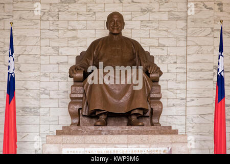 Statue of Chiang Kai-shek inside of the National Chiang Kai-shek Memorial Hall located in Taipei, Taiwan, He was - Stock Photo