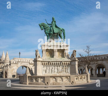 Bronze statue of Saint Stephen, Hungarian Szent Istvan, near the Fishermans Bastion at the heart of Buda castle - Stock Photo