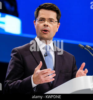James Brokenshire addresses the Conservative Party Conference at Manchester Central, Manchester, UK - Sunday October - Stock Photo