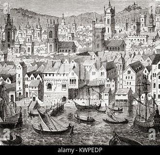 The Steelyard, depot of the Hanseatic merchants, London, England in the 15th century.  The Hanseatic League aka - Stock Photo
