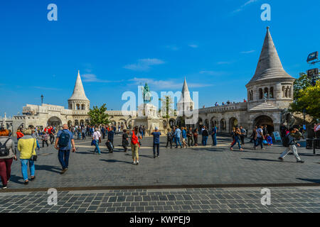 Fisherman's Bastion with it's equestrian statue, terrace and towers overlooking Budapest Hungary on a sunny afternoon - Stock Photo