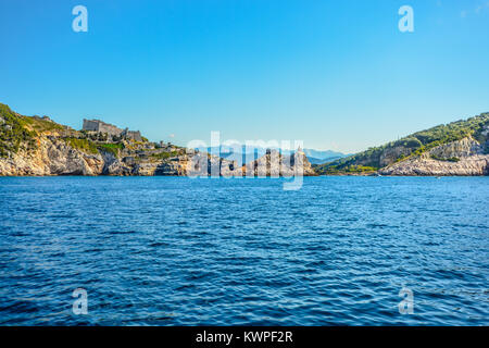 The hilltop Church of St Peter at the entrance to La Spezia's Gulf of Poets at Portovenere Italy on a sunny day. - Stock Photo
