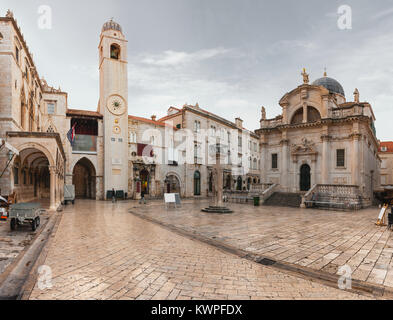 Stradun street at old part of the city early in the morning. Dubrovnic, Croatia. Fortification. - Stock Photo