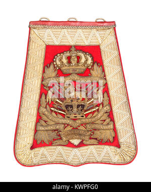 15th (The King's) Hussars officer's full dress embroidered scarlet cloth sabretache from the Victorian era. - Stock Photo
