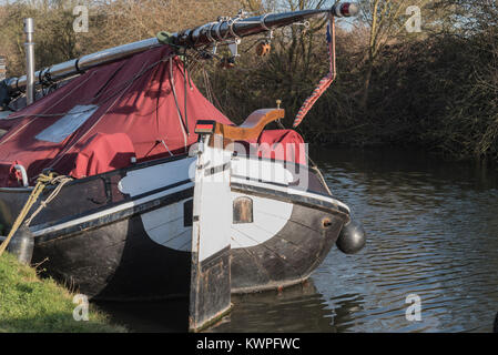 A moored sailing boat on the River Lea - Stock Photo