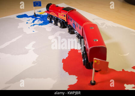 Toy train connecting Europa and China. Yidaiyilu project - Stock Photo