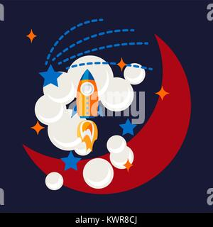 Cartoon rocket and moon in space t shirt design. - Stock Photo