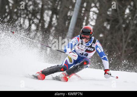 Zagreb, Croatia. 04th Jan, 2018. Trikhichev Pavel of Rus competes during the Audi FIS Alpine Ski World Cup Mens - Stock Photo