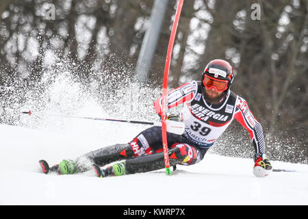 Zagreb, Croatia. 04th Jan, 2018. Brown Phil of Can competes during the Audi FIS Alpine Ski World Cup Mens Slalom, - Stock Photo