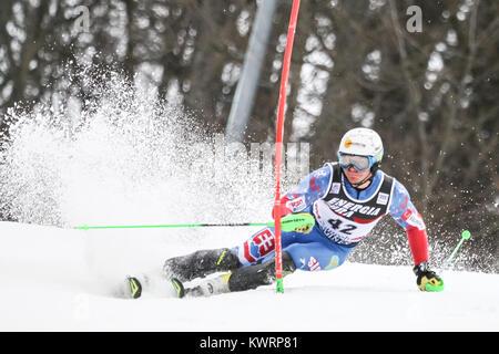 Zagreb, Croatia. 04th Jan, 2018. Zampa Adam of Svk competes during the Audi FIS Alpine Ski World Cup Mens Slalom, - Stock Photo