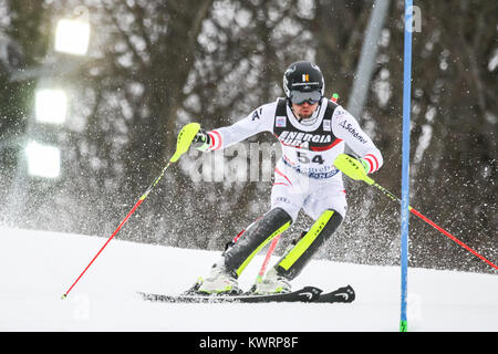 Zagreb, Croatia. 04th Jan, 2018. Strolz Johannes of Aut competes during the Audi FIS Alpine Ski World Cup Mens Slalom, - Stock Photo