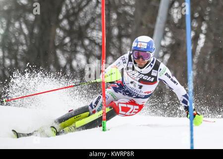 Zagreb, Croatia. 04th Jan, 2018. Kryzl Krystof of Cze competes during the Audi FIS Alpine Ski World Cup Mens Slalom, - Stock Photo