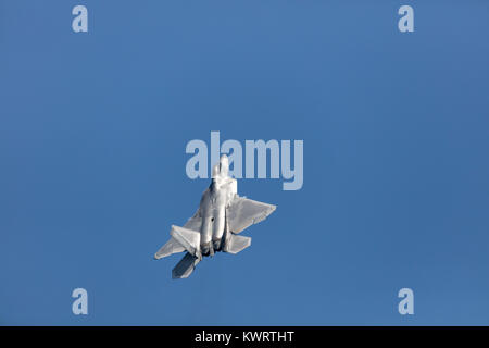 USA, Chicago - August 19: A U.S. Air Force F-35 Joint Strike Fighter (Lightning II) jet flying. This F-35 is assigned - Stock Photo