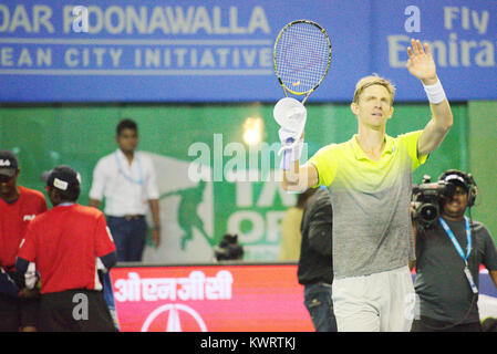 Pune, India. 4th January 2018. Kevin Anderson of South Africa gestures after winning his quarter final match of - Stock Photo