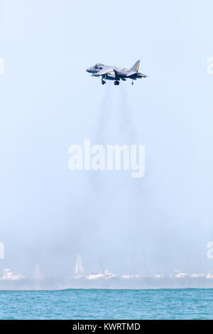 USA, Chicago - August 19: U.S. Marine Corps AV-8B Harrier aircraft performing at Chicago Air and Water Show, on - Stock Photo