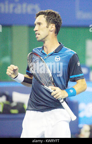 Pune, India. 4th January 2018. Mikhail Kukushkin of Kazakhstan in action in a quarter final match of the Singles - Stock Photo