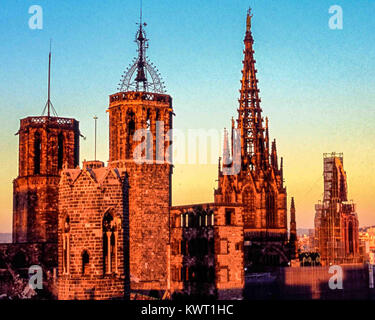 Barcelona, Catalonia, Spain. 1st Nov, 2017. Bell towers and steeples of the 13th century Cathedral of the Holy Cross - Stock Photo