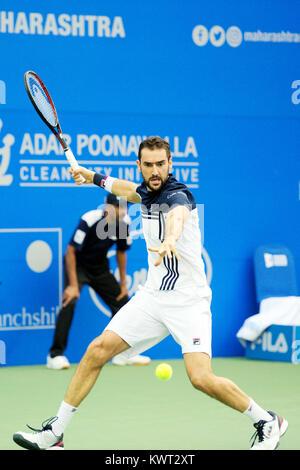 Pune, India. 5th January 2018. Marin Cilic of Croatia in action in a semi-final match at the Tata Open Maharashtra - Stock Photo