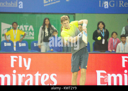 Pune, India. 5th January 2018. Kevin Anderson of South Africa gestures after winning his semi-final match at the - Stock Photo