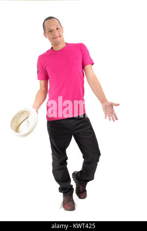 Young artist is performing. Young Brazilian is wearing a pink T-shirt. White background. - Stock Photo