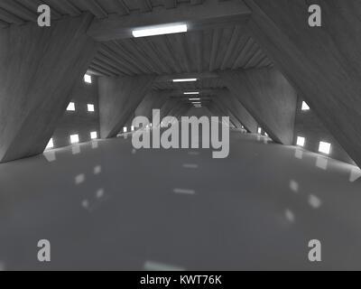 Dark empty room interior with lamps. 3D rendering - Stock Photo