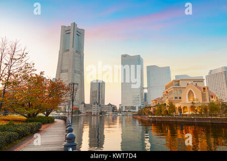 Minatomirai Area With Skyscrapers in the Evening                                                            YOKOHAMA, - Stock Photo