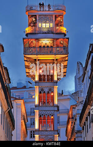 Detail of Lisbon´s historic Santa Justa Elevator by night - Stock Photo